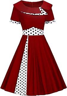 7fe702094ac MisShow Robe de Soirée Vintage Femme Imprimée à Pois Manche Courte Swing  Rockabilly Pin up en