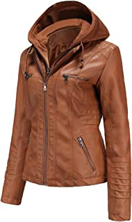 Faux Leather Jacket Women Motorcycle Coat for Biker with...
