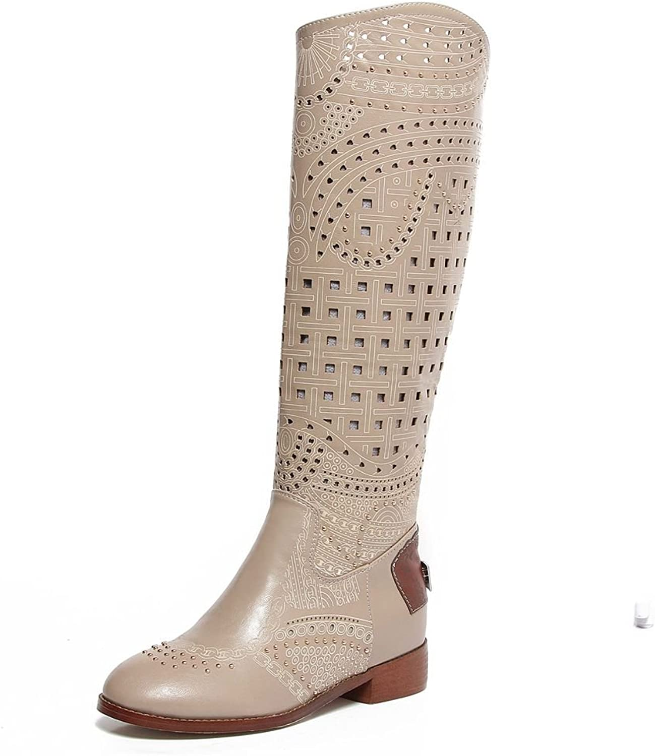 KingRover Women's Fashion Hollow Studded Ornamented Leather Boots