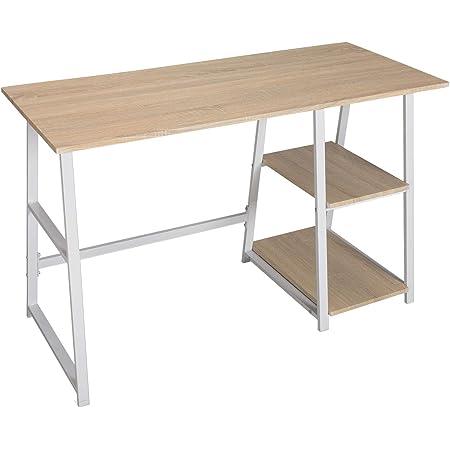 WOLTU® TSG25hei Bureau d'ordinateur avec 2 étagères,Table de Bureau Table de Travail en aggloméré et Acier, 120x50x73cm (LxPxH)