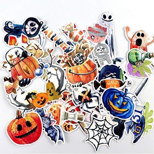 ZFHH 33pcs Hand Drawing Watercolor Halloween Eve decoration Notebook Planner Scrapbooking, DIY Paper Sticker