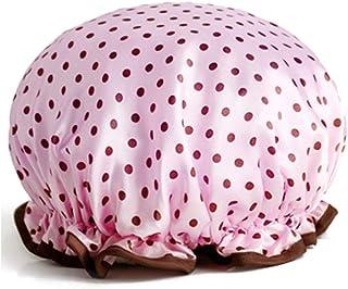 Shower Cap, Waterproof Adult Female Shower Cap, Shower Shower Cap, Shampoo Cap, Cute Headscarf, Kitchen Ladies Smoke Cap, Four Colors Optional (Color : Wave Pink)