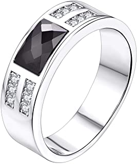 YL Men's Wedding Band Engagement Ring 925 Sterling Silver with 5x7.8mm Stones Ring Width 6.8mm Anniversary Jewelry