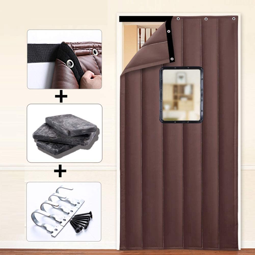 Color : A, Size : 100x240cm 2 Styles 23 Sizes XZPENG Door Curtain Brown Waterproof Partition Curtain Thicken Oxford Fabric Keep Warm Cold Protection