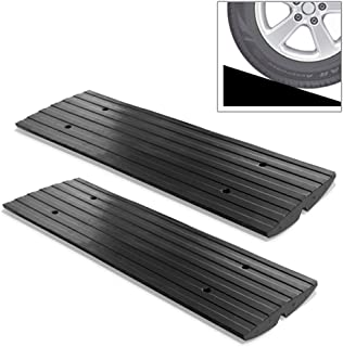 Car Vehicle Curbside Driveway Ramp - 4ft Heavy Duty Rubber Threshold Bridge Tracks Curb Ramps, 2 Pieces (for Car, Truck, Scooter, Bike, Motorcycle, Wheelchair Mobility) - Pyle PCRBDR21
