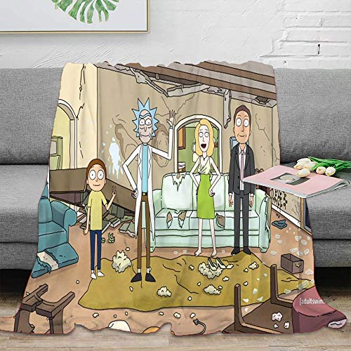 Coobal Rick and Morty Fleece Blanket Throw Size, Rick and Morty Washable Blanket Super Soft for Adults and Children