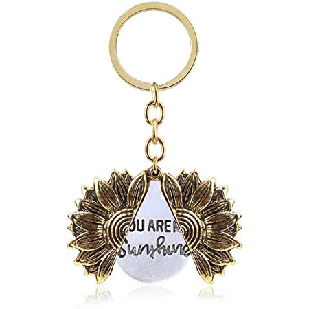 You are My Sunshine Engraved Sunflower Keychain Open Locket Pendant Keyring Gifts for Women Girls