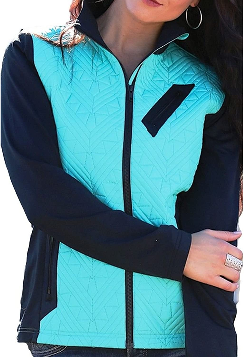 Cruel Girl Western Jacket Women Quilted Nylon L Turquoise CWJ9855001