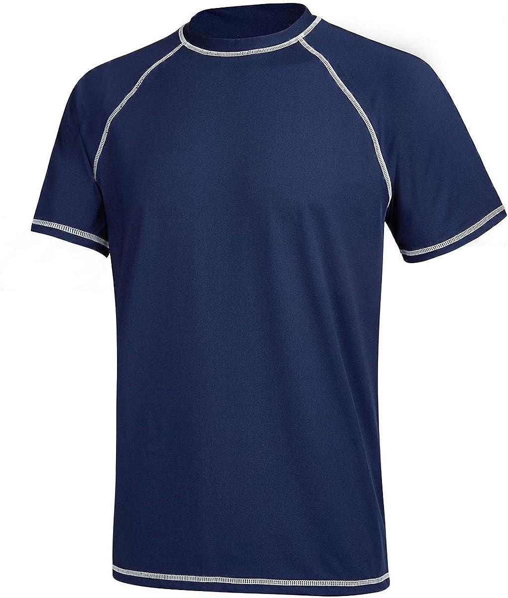 Satankud Men's UPF 50+ Rashguard Swim Tee Short Sleeve Running Shirt Swimwear Swim Hiking Workout Shirts: Clothing
