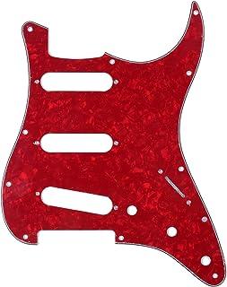 Musiclily 11 Agujeros SSS Strat Pickguard Golpeador para Fender American/México Standard Stratocaster Estilo Moderno, 4 capas Red Pearl
