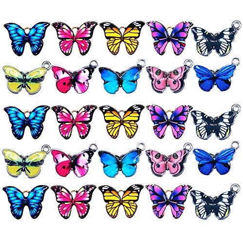 40 piezas mezcladas de colores exquisitos esmaltados con colgante de mariposa para collar, pulsera y accesorios de joyería
