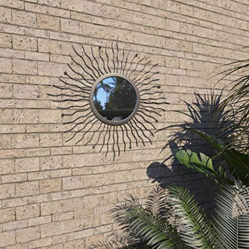 vidaXL Gartenspiegel Sonnenform 60cm Schwarz Wandspiegel Dekospiegel Spiegel