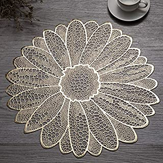 Candumy 15 Inches Round Golden Placemats Wipe Clean for Dinner Table, Heat Resistand PVC Flower Tablemats Home Decor Non S...