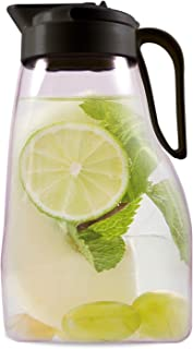 LargePour Airtight Pitcher with Locking Spout and Carry Handle Japanese Made - For Water Coffee, Tea & Other Beverages - 3.2 Quarts - Clear with Black Top