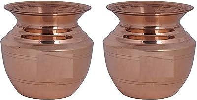 Pure Copper Kumbha Kalash/Lota Rounded & Curved Design Diwali, Pooja,Kalasham Set of-2