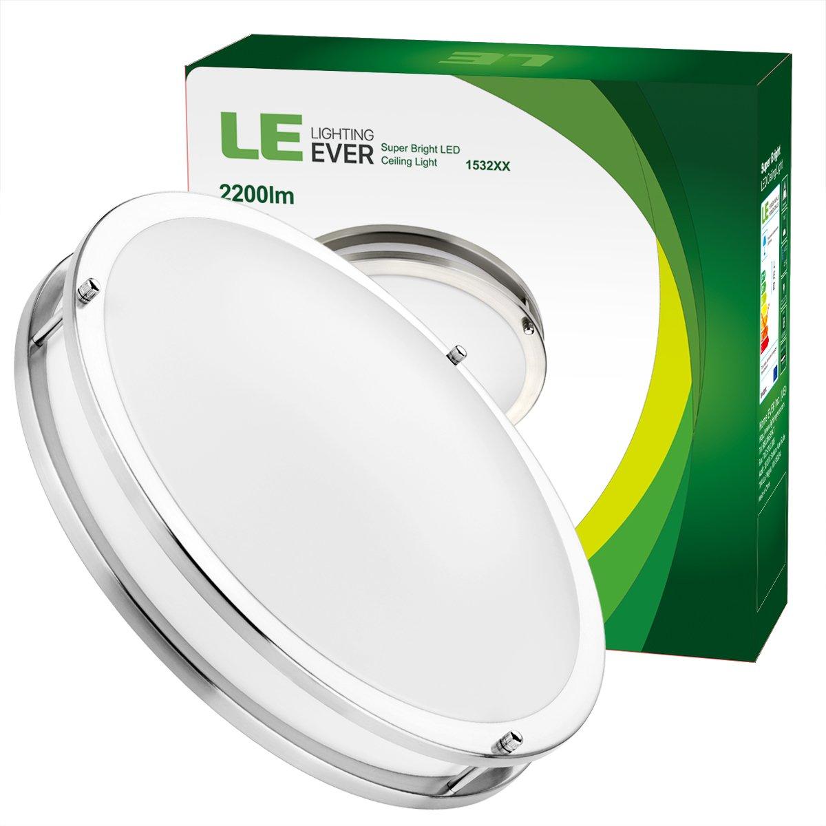 調整可能なLE 16インチ26 Wライト埋め込みLEDシーリングライト、200ワットの白熱電球、2200 lm、5000Kデイライトホワイト、120度のビーム角、LED埋め込み照明器具、UL認定