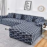 Fundas elásticas para sofá a Cuadros para Sala de Estar, Fundas para sofás con Chaise Longue, Funda para sofá, Funda para sillón, A6, 4 plazas