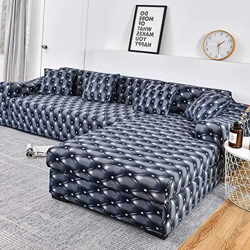 WXQY Funda de sofá de celosía elástica Tipo L Necesita Pedir 2 Piezas de Funda de sofá, Funda de sofá elástica Todo Incluido a Prueba de Polvo A6 4 plazas