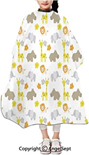Children Patterned Hair Cut Apron Online,Baby Jungle Animals s Lions Giraffes Hippopotamuses Nature Inspired Multicolor,47.2x39.4 inches,Waterproof Hairdresser Dressing Salon