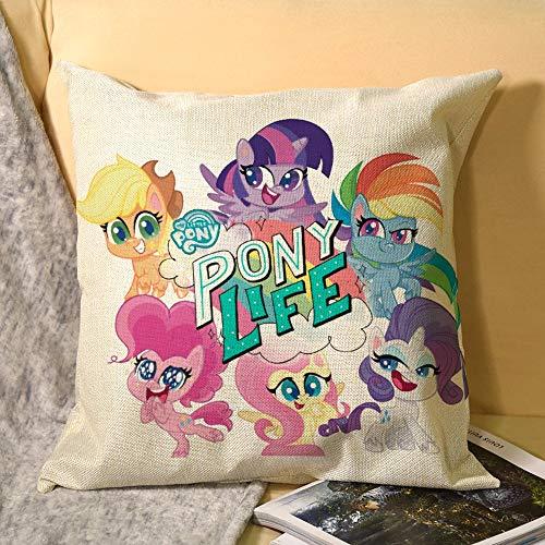 My Little Pony - Fundas de cojín decorativas cuadradas con cremallera invisible para sofá, dormitorio, sala de estar, fundas de almohada de lino de 45 x 45 cm