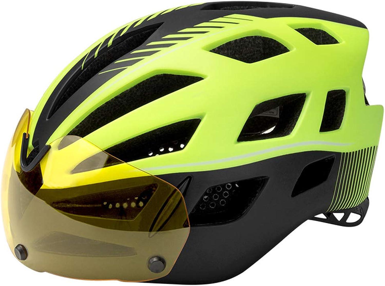Bicycle Helmet Mountain Bike Road Bike Helmet with Windproof Glasses Men and Women Bike Helmet Green