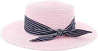 Happy-L Hat, Summer Women Beach Sun Cap New Brand Flat Top Straw Hat Men Boater Hats with Stripe Bowknot Ribbon Leisure Fashion Cap. (Color : Pink, Size : 56-58CM)
