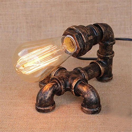 Lampe de Table Industrial Retro Water Pipes Lampe de table Vintage Loft Luminaire de bureau créatif pour salon Chambre Bar Hall Pub Étude Café Art de fer Ambience Décoration Lampe de bureau, C