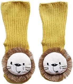 CyFe, Calcetines de piso para bebé con dibujos animados León Calcetines divertidos antideslizantes largos para niños y niñas, otoño e invierno, para interior