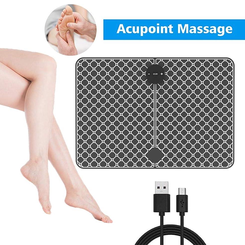 クッションインフルエンザ説明するEMSスマートマッサージャー、フットパッド、フットマッサージャー、電気理学療法機器、パルスフットマッサージステッカー、ホームオフィスに適し、足の疲労を和らげる,黒