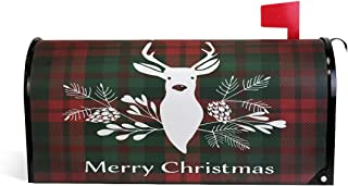 WOOR Merry Christmas Deer Tartan Red and Green Plaid Buffalo Check Magnetic Mailbox Cover MailWraps Garden Yard Home Decor for Outside Standard Size-18