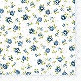 20 Servietten Mille Fleurs – Eintausend Blaue Blumen/Blumenmuster 33x33cm