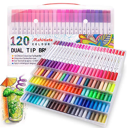 Watercolour Brush Pens Set,SAYEEC 12 Colors Dual Tip Brush Pens with Fineliner T