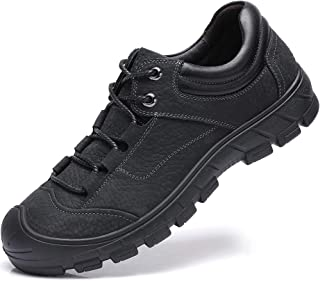 Mens Leather Hiking Shoes Anti-Slip Soft Outdoor Backpacking Shoe for Trekking Walking Daily Wear