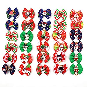 Masue Pets 20pcs/Pack Dog Hair Bows for Christmas with Rubber Bands Dog Bows Bowknot Snowman Snowflakes Christmas Dog Bows Snowman Dog Topknot Bows Pet Grooming Products