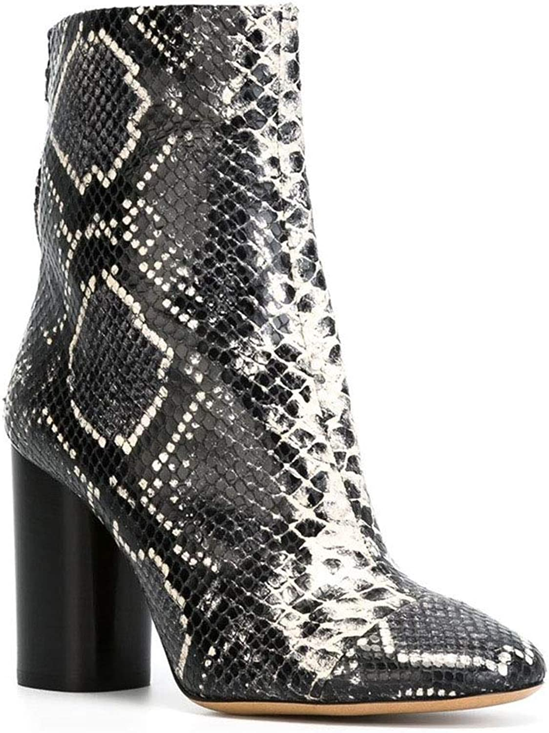 Women's high-Heeled Ankle Boots Women's Ankle Boots Comfortable Thick Heel Skin Pattern Pointed