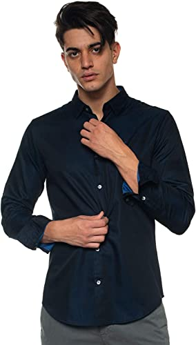 Arhommei Hommes Chemise Slim fit Two Tone bleu