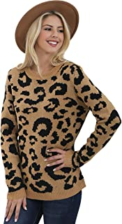 Preppy Doll Women's Animal Leopard Print Knit Ribbed Cuff Crewneck Pullover Sweater Top