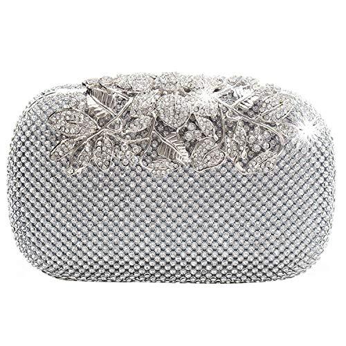 WOVELOT Monedero Clutch Bolsa de Noche de Diamante Cristal Diamante Plata Corchete...