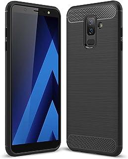 جراب Samsung Galaxy A6 Plus 2018 / Samsung Galaxy J8 2018، جراب واقٍ متين مرن بنمط ألياف الكربون - أسود