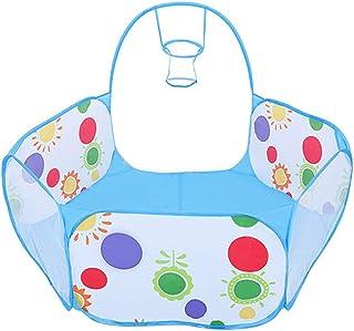 Transer- キッズボールピットボールテント 幼児用プレイペン ポップアップ 六角形プレイテント バスケットボールフープとファスナー式収納バッグ 幼児用 4フィート/120cm (ボールは含まれません) 6.5*6.5*6.5cm/2.6*2.6*2.6inches ブルー