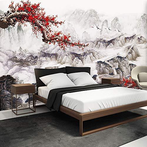 3D muurschildering behang, groot, modern Chinees schilderij rode pruimen bloemen en grote muur landschap foto's 5D bedrukken zijden doek stof wand kunst decoratie voor woonkamer slaapkamer 300cm(W) x 200cm(H) (9.84 x 6.56) ft