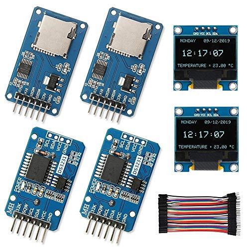 WayinTop Echtzeituhr Modul Kit für Arduino, 2X DS3231 AT24C32 IIC RTC Real Time Clock Modul + 2X SPI Reader Micro Speicher SD TF Karte Modul + 2X 0,96