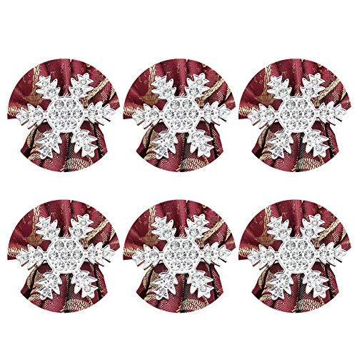 Servilleteros De Navidad Vajilla de fiesta de almuerzo navideño Set de anillos de servilleta de copo de nieve para...