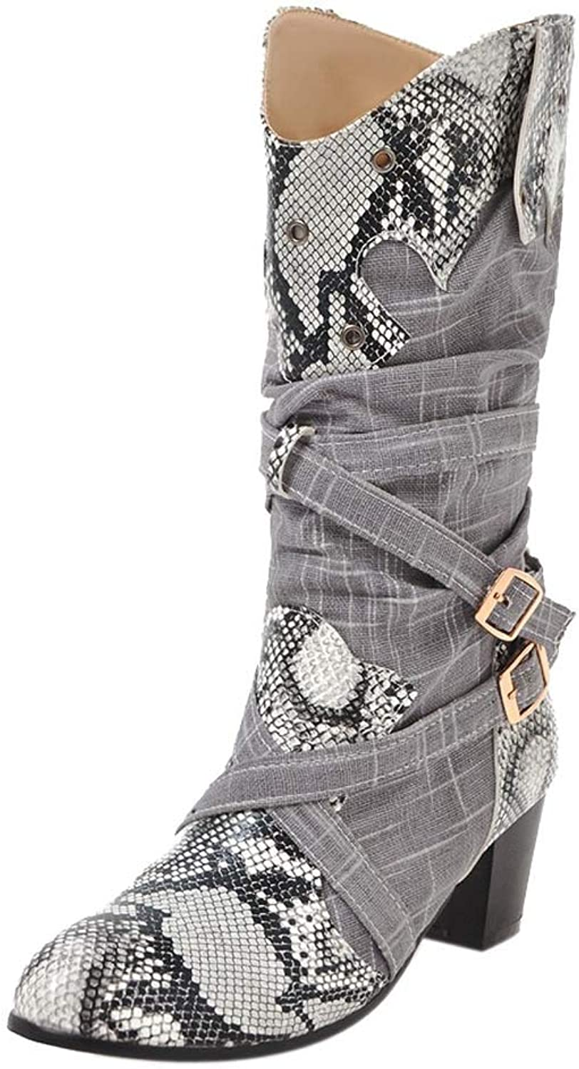 XoiuSyi Fashion Pointed Toe Winter Boots Woman Snake Print High Heels Mid Boots