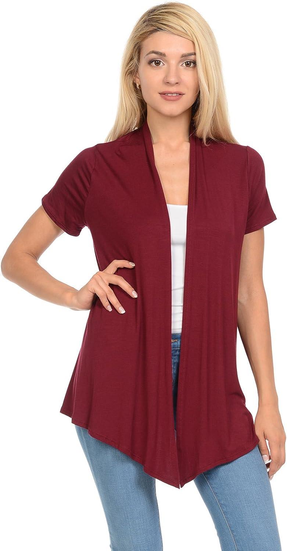 Pastel by Vivienne Women's Short Sleeve Open Front Vest (15+ Colors/S-3XL)