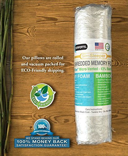 Xtreme Comforts Slim Hypoallergenic Shredded Memory Foam Standard Bamboo Pillow with Cover