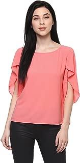 Pannkh Women's Peach Crepe Petal Sleeves Solid Top