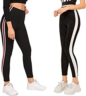 DTR FASHION Women's Side Stripped Jegging_Jogger pant For Women_Black_Combo Pack of 2