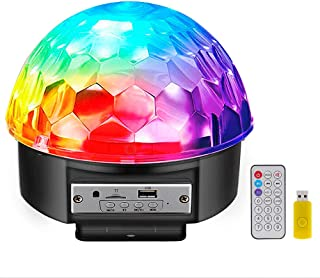 Disco Ball Party Lights Bluetooth Speaker, 9 Colors Light Sound Activated LED DJ Stage Strobe Lamp with Wireless Remote Control for Room Wedding Birthday Kareoke Home Prom Bar Pub Dance Show