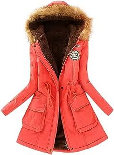 Leomodo Women Winter Warm Coat Faux Fur Collar Hooded Zipper Button lace Up Outwear